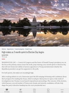 screenshot of AP News version 5.0.1