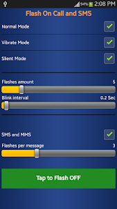 screenshot of Flash Blink on call and SMS version 1.0.0