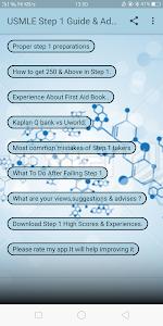 screenshot of USMLE step 1 Guide & Advises version 1.0