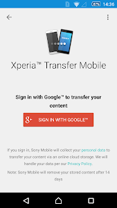 screenshot of Xperia™ Transfer Mobile version 2.2.A.2.10