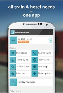 screenshot of indian rail train info hotels version 2.8.3